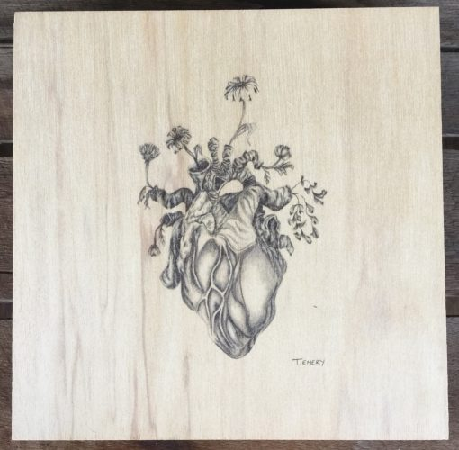 Heart plywood illustration